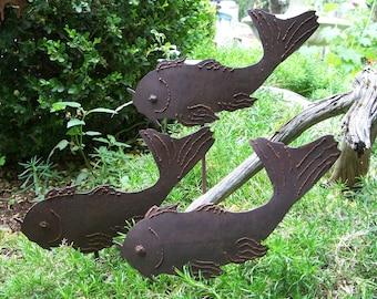 Coi Fish For The Garden, Metal Garden Decor Coi Fish, Garden Fish