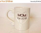 ON SALE 40% OFF New Mom 2016 Family Tree Mug Handmade Ceramic from my Charleston, Sc Studio