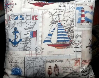 postcard pillow cover, travel pillow cover, map pillow cover, postcard cushion cover, nautical cushion cover, map cushion cover