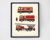 Fire Truck Illustration - Toddlers decor, Prints for Boys, Nursery art, Truck prints, Prints for baby boy, Fire truck nursery