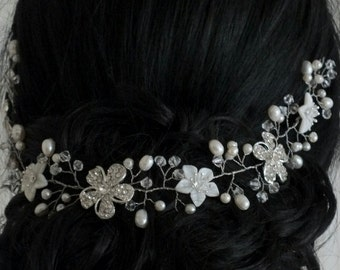 Thea - Vintage Style Mother Pearl Flower, Freshwater pearl, Rhinestone flower and Crystals Wedding Hair Vine