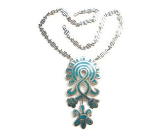 Taxco Mexico Mexican CDL Sterling Silver Turquoise Aztec Mayan Inspired Pendant Necklace Boho Bohemian Vintage