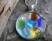Handmade Seaglass Jewelry: Cluster Cameo Glazed Necklace
