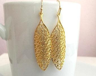 Gold Vermeil Filigree Earrings. Gold Earrings. Long Gold Earrings. Dangle Earrings. Delicate. Minimalist. Drop Earrings.Simple Gold Earrings