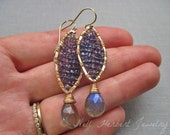 Iolite and Labradorite Gold Dangle Earrings, Gray Blue Gemstone Woven Earrings, Marquis Shaped Gold Earrings