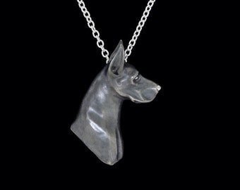Sterling Silver Oxidized Finish American Great Dane Head Study Necklace (Optional Chain)
