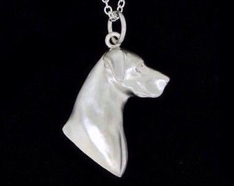 Sterling Silver European Great Dane Head Study Necklace (Optional Chain)