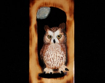 Wood Carving -Bird Carving Owl - OOAK -  Hand Carved and Sculpted in Pine Wall Art