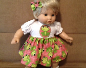15 inch doll (modeled by Bitty Baby) Frog dress and headband