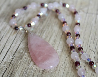 Rose Quartz Teardrop Pendant Necklace with Garnet and Swarovski Crystal / Gemstone Necklace / Gifts for Her / Gifts for Women / Rose Quartz
