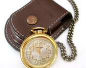 Wrangler Gold Pocket Watch Leather Belt Case Japan Movement Timepiece