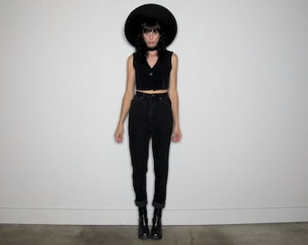 High Rise Lee JEANS Vintage BLACK Denim Mom Jeans Tapered Leg High Waist Size 25/26 Waist