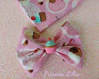 Cupcake Party Hairbow, Cupcake Bow, Pink Cupcake Hairbow, Cupcake Hair Accessory, Cupcake Print Bow