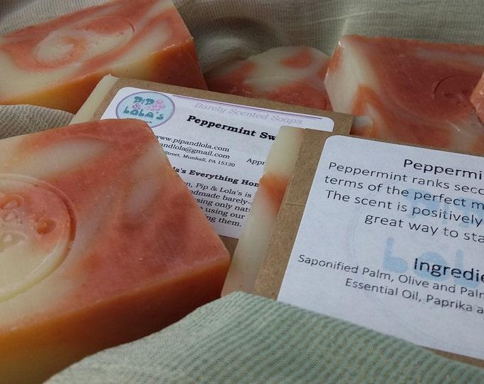 Peppermint Swirl  --  All Natural Soap, Handmade Soap, Barely Scented Soap, Cold Process Soap, Vegan Soap, Peppermint Soap