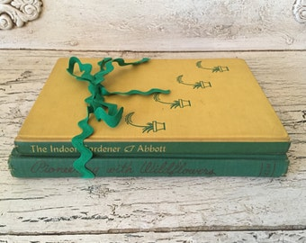 Garden Book Stack - Rustic Home Decor - Green and Yellow Gardening Books