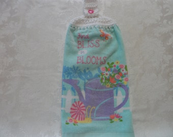 Hanging Double Kitchen Towel  Spring FlowerTowel Kitchen Towel Find Bliss in Blooms Hanging Towel Crochet Top Hanging Kitchen Towel