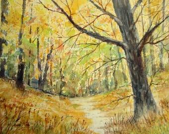 Watercolor Landscape Painting Print, autumn woods watercolor print, watercolor art, landscape painting, fall landscape, scenic, autumn trees