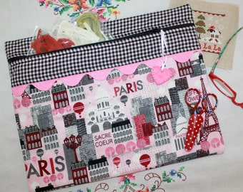 Paris Pink Black Cross Stitch,  Embroidery Project Bag