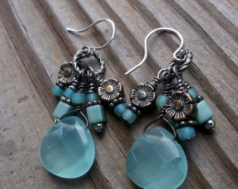 Mint Julep Briolette and Glass Flower Earrings