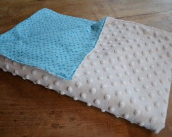 Blue and White Minky Baby Blanket