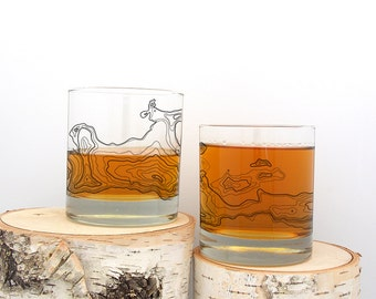 Whiskey Glasses - Topographic Map - Screen Printed Whiskey Glass - Set of Two 11oz. Tumbler Glasses