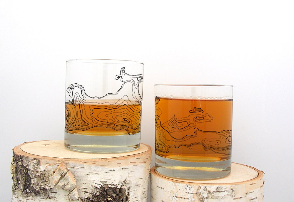 whiskey glasses topographic map screen printed whiskey glass set of two 11oz