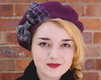 Purple Hat, Purple Beret Hat with Purple-Grey Tartan Bow, Purple Wool Beret Hat, Purple Felt Beret Hat, Purple French Beret Hat