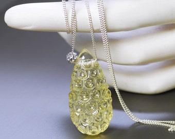 Lemon Quartz Pendant by Agusha. Sterling Silver Necklace with Lemon Quartz Pendant. Carve Lemon Quartz Pendant