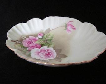 Vintage Lefton China Floral Dish, 1987,  Hand Painted, Lefton China Candy Dish, Pin Dish