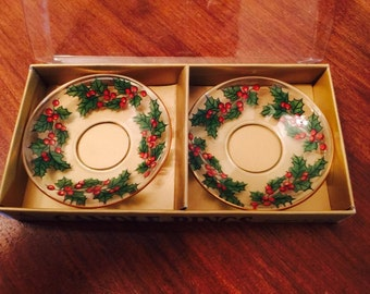 Vintage Christmas Glass Candle Holder Decor Holly Wreath Holiday Table 1970s Original Packaging