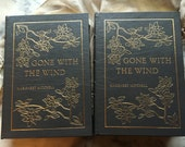 Vintage Collector's Edition 1968 Gone with the Wind Two Volume Leather Bond Color Illustrations