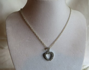 """16"""" Silver Heart Necklace, necklace, heart, vintage"""