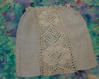 Sweet Antique Linen and Crocheted Drawstring Bag, Purse