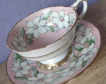 Vintage Royal Stafford dogwood teacup and saucer, Peach tea cup, Hand painted tea cup, English tea cup, bone china teacup,