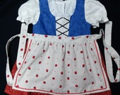 Red and Blue Lady Bug Baby Dirndl