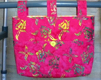 Adult Woman Walker BagTote Purse - Batik Rosy Red, Yellow, Olive Green w/Pockets, Large Deep Yellow Button