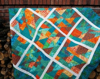 Caribbean ocean tropical underwater coral reef sunset lap quilt.  Batiks in Aqua turquoise lime orange . Seahorse quilt design.