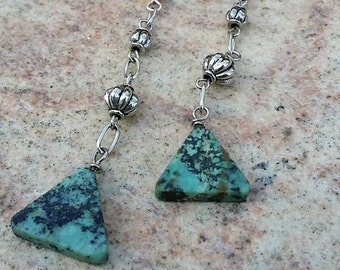 Turquoise Triangle Dangle Earrings by AfterWork