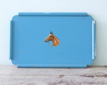 1950s Blue Serving Tray With Horse Head
