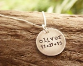 Mother Necklace with Kids Name and Birthdate Stamped Sterling Silver Distressed Disc
