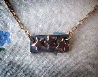 Handmade Silver Copper Star Bar Necklace