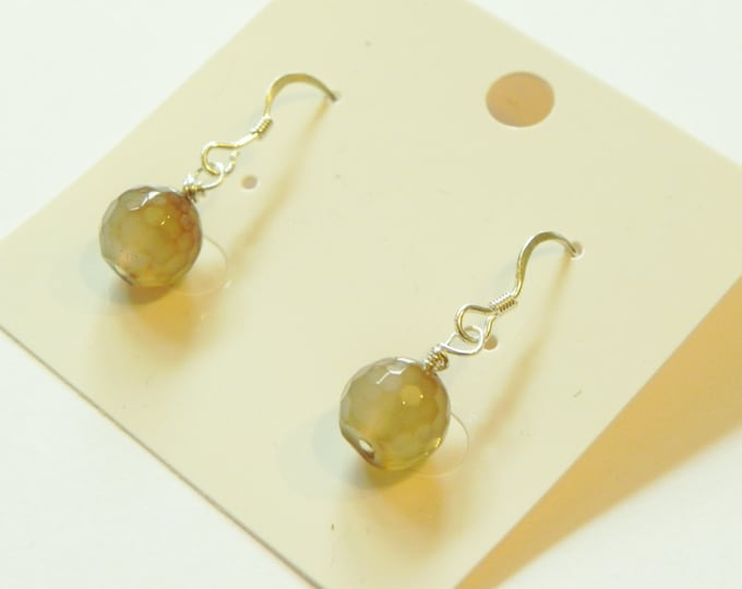 Brown agate faceted sterling silver earrings