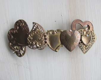VINTAGE Heart Hair Clip w/ Pearl Accents France