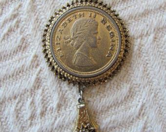 Vintage Coin Necklace Elizabeth Regina