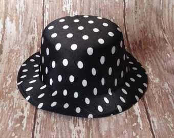 Black and White Polka Dot Mini Top Hat | 5 Inch Wide, 2 Inch Tall