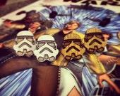 Wood or White Stormtrooper Star Wars Stud Earrings