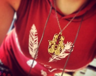 Wood Hamsa Chain Necklace