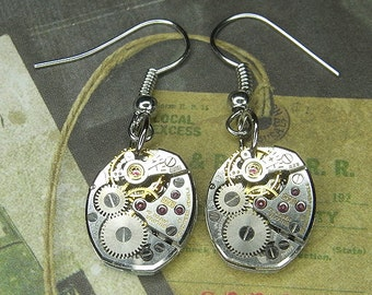STEAMPUNK Earrings - Vintage Silver BULOVA Watch Movements - Torch SOLDERED - Wedding, Anniversary Gift - Cool Colors