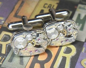Steampunk Cufflinks Cuff Links - TORCH SOLDERED - Vintage Silver Rounded Rectangular GRUEN Watch Movements - Anniversary Birthday Gift