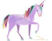 Violet Unicorn - Animal Art Print